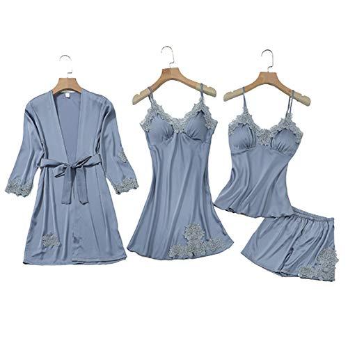 Damen Pyjama Set 4 PCS, Nachthemd Home Wear Spitze Robe Sexy Frauen Ärmel Nachtwäsche,LightBlue,XL(60-70kg)