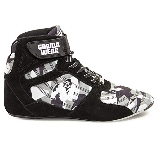 GORILLA WEAR Fitness Schuhe Herren - Perry High Tops - Bodybuilding Gym Sportschuhe Grau-Camo 44 EU