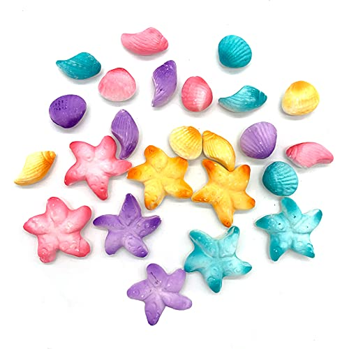 GEORLD 24Pcs Pastel Sea Creatures Mini Sea Shells Star Fish Ready To Use Hand Crafted Cake Cupcake Sugar Decoration Toppers