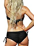 Upopby Women's Sexy Bikini Bottom Boyshort Side Tie Cheeky Swimsuit Bottoms Ruched Tankini Swim Shorts Black L