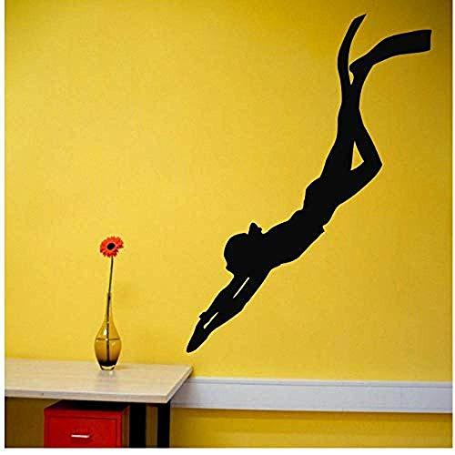 Wandkranke Taucherin Wandtattoos Vinyl-Aufkleber Abnehmbare Wandbilder Für Schlafzimmer Wohnzimmer Schule Büro Home Art Decor 58X58Cm