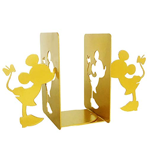 PandS Gold Minnie Mouse Bookends - Minnie Book Holder - Decorative Bookends for Home Office and Studio - Bookends for Heavy Books - Creative Book Ends