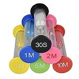 6 Colores Reloj de Arena Temporizador, Temporizador de Reloj, 30 Segundos / 1 Minuto / 2 Minutos / 3 Minutos / 5 Minutos / 10 Minutos - Juego de Reloj de Arena de Color Ideal para el Hogar, Juegos