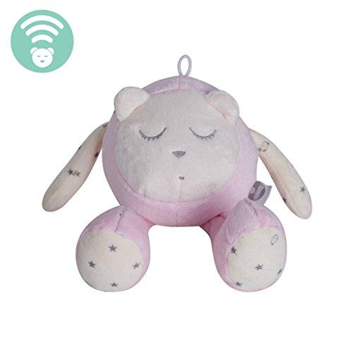 myHummy Baby Einschlafhilfe Geräusche Maskottchen Bär rosa | Herzschlag und weißes Rauschen zur Beruhigung | Automatische Abschaltung Schlafsensor | Sleep Aid White Noise Sound Bear for Babys