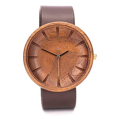 Holzuhr Herren Argus Von Ovi Watch, Minimalistisches Design, Nachhaltige Produkte, Lederband Armbanduhr 42mm