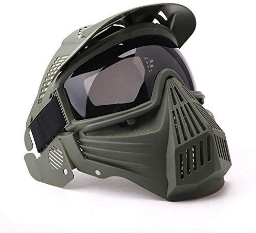 NINAT Tactical Paintball Mask Airsoft Masks Full Face with Greylens Lens Goggles Eye Protection for CS Survival Games Airsoft Shooting Halloween Cosplay Safety Mask Paintball Green