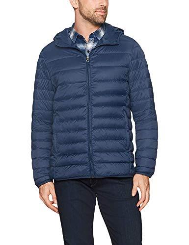 Amazon Essentials Men's Lightweight Water-Resistant Packable Hooded Down Jacket, Navy, Large