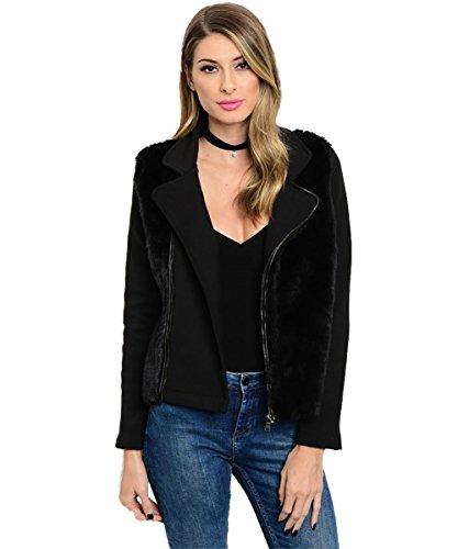Vina Vino Women's Black Long Sleeve Biker Jacket with Vegan Fur Trim