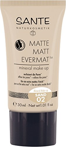 SANTE Naturkosmetik Matte Matt EvermatTM Mineral Make up 02 Sand, Mittlerer Hautton, Mattes Finish, Vegan, Natural Make-Up, 30ml