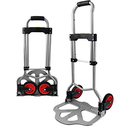 LZQ Sackkarre klappbar, Transportkarre Belastbarkeit bis 60kg, Stapelkarre zum Transportieren mit ausziehbarem Griff für Umzug, Einkäufe und schwere Kisten höhenverstellbar HBT ca. 95 x 38 x 38,5 cm