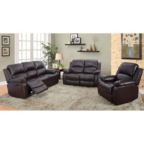 AYCP FURNITURE Reclining Sectional Sofa, 3pc Bonded Leather Upholstery Brown Vintage Sofa Set