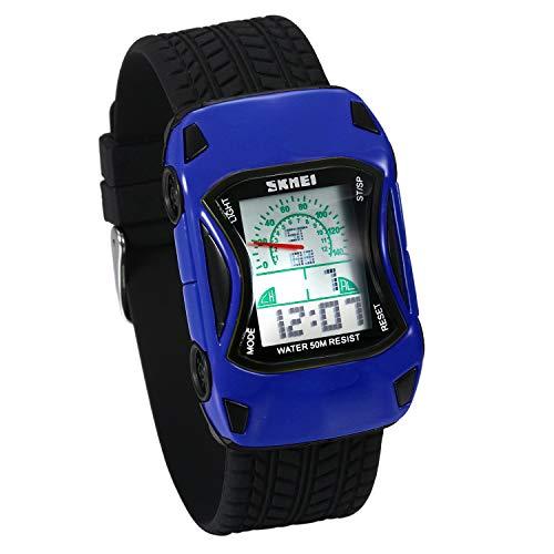 JewelryWe Kinder Armbanduhr Sportuhr 50m wasserdicht einzigartie Auto Motiv Digital Uhr Stoppuhr mit Zwei Zeitzonen, Alarm und Kalender