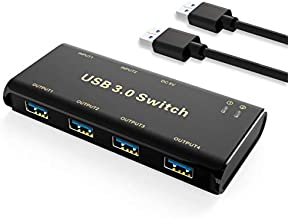 USB 3.0 Switch Selector,ABLEWE KVM Switcher Adapter 4 Port USB Peripheral Switcher Box Hub for Mouse, Keyboard, Scanner, Printer, PCs with One-Button Switch and 2 Pack USB Cable