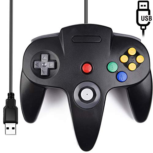 Classic N64 Controller, SAFFUN N64 Wired USB PC Game pad Joystick, N64 Bit USB Wired Game Stick Joy pad Controller for Windows PC MAC Linux Raspberry Pi 3 Genesis Higan (Black)