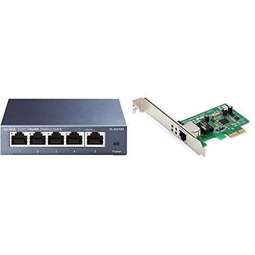 TP-Link TL-SG105 Switch 5 Porte Gigabit, 10/100/1000 Mbps, Plug & Play, Nessuna Configurazione Richiesta & TG-3468 Scheda di Rete PCI Express 10/100/1000 Mbps, 32-bit
