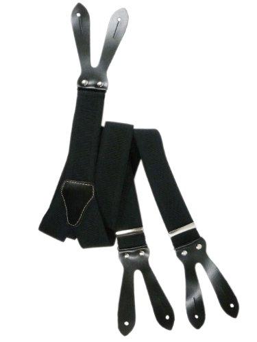 Olata Hosenträger mit Knopfloch und Echt Lederriemen - 3.5cm. Schwarz