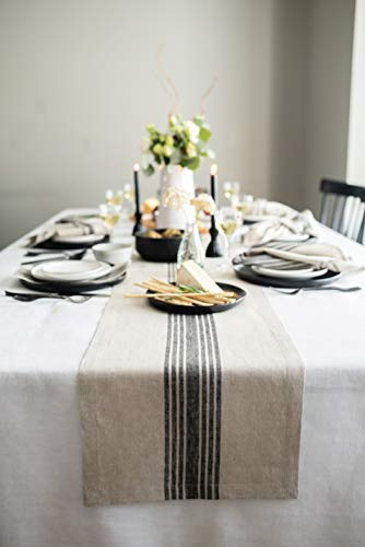 Solino Home Farmhouse Stripe Table Runner – 14 x 36 Inch, 100% Natural Fabric, Handcrafted Machine Washable - Black & Natural