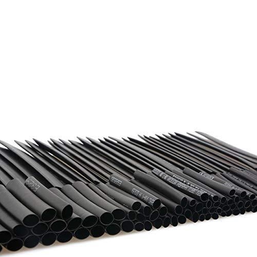 G.Y.X Tubetto termoretraibile Pacchetto del Sacchetto Assortiti Termorestringenti Tubo ritardante di Fiamma Cavo Maniche Wire Wrap Set (Colore : 127Pcs all Black)