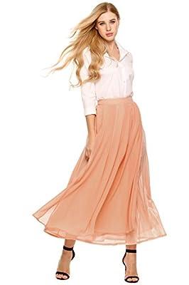 Chigant Women High Waist Double Chiffon Retro Long Maxi Skirt Vintage Dress
