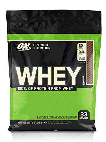 Optimum Nutrition Whey Protein Powder Low Sugar Protein Shake with Amino Acids for Muscle Growth, Chocolate, 33 Servings, 900 g