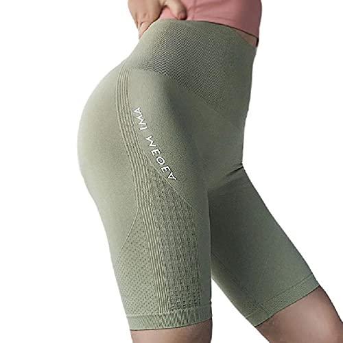 Frauen Hohe Taille Sport Yoga Shorts Buchstaben Workout Kompression Leggings Hosen Workout Running Shorts Tiefe Taschen Premium Bequem Schnell trocknend Atmungsaktiv Dehnbare Taschen Laufen Bauch