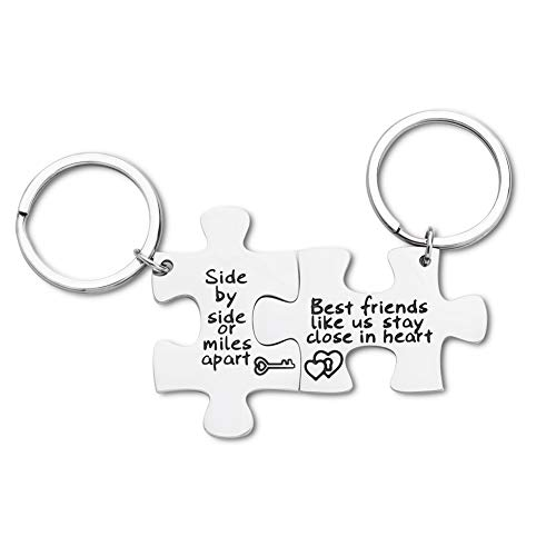 Best Friend Gifts for Women Girls Friendship Gifts Puzzle Pieces Side by Side Or Miles Apart Keychain Birthday Gifts for Best Friend BFF Women Men Teen Departing Gifts