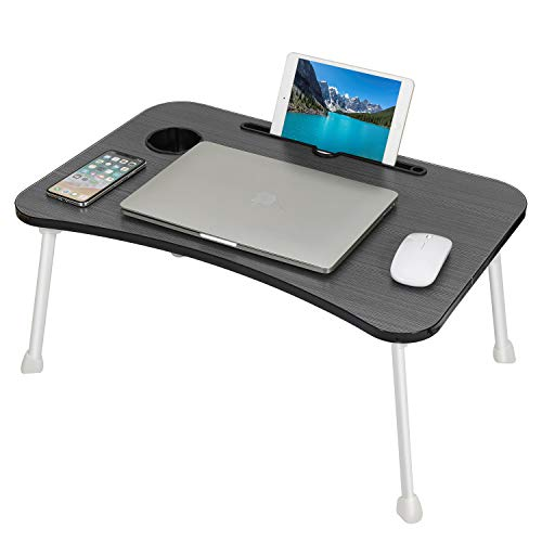Laptop Desk, Portable Lap Desk Folding Laptop Bed Table Bed Desk Laptop Lap Desk Standing Desk Computer Reading Desk Coffee Breakfast Serving Tray with Cup Holder for Sofa Bed Balcony Watching Movie