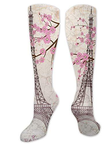 NA Paris - Calcetines de compresión graduados para Mujer y Hombre, diseño de Torre Eiffel con Flor de Cerezo Rosa