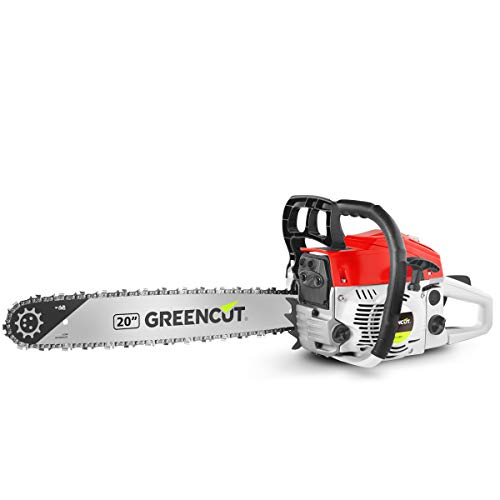 GREENCUT GS620X - Motosierra de gasolina con motor de 2 tiempos 62cc y 3,8cv con espada de 20'', Arranque Easy-Start, Sistema Anti-Vibración, Tecnología TRU-SHARP