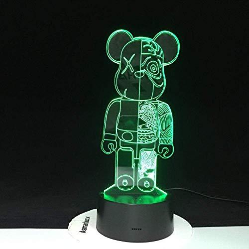 Oso de dibujos animados 3D linda luz de noche LED en la luz de decoración los niños hacen una nueva atmósfera toque humor lámpara de mesa lava 3109
