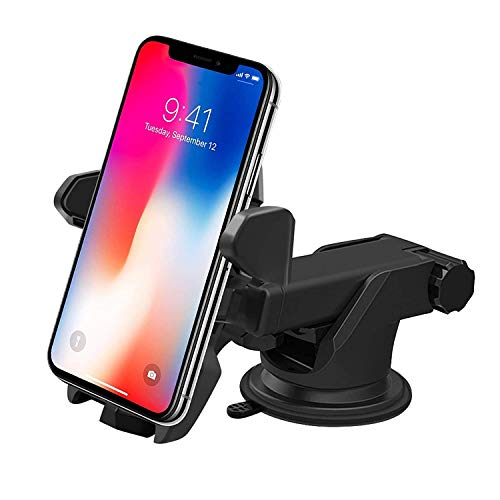 Jiyatech Smart Universal Car Mobile Holder/Stand Adjustable with Windshield/Dashboard/Working Desk Mount with Quick One Touch Technology (Expandable & Rotatable) for Mobile Phones - Black