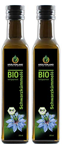 Kräuterland - Bio Schwarzkümmelöl 2x250ml- 100% rein, gefiltert, schonend kaltgepresst, ägyptisch, vegan - Frischegarantie: täglich mühlenfrisch direkt vom Hersteller