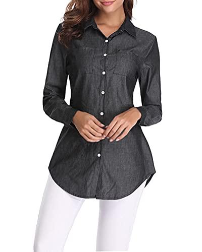 Fuinloth Women's Chambray Button Down Shirt, Long Sleeve Cotton Blouse, Long Jeans Tunic Top