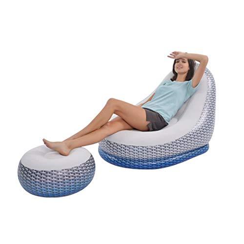 NISHIPANGZI Sillón, Nuevo sofá Inflable Plegable reclinable sofá Cama para Exterior con Taburete Redondo pequeño, Silla de sofá combinada, Silla de sofá Perezoso Inflable