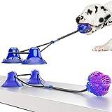 WingFly Juguetes para Perros, Juguete de Mordida Multifunción para Mordedura para Mascotas, Pelota Perro Pelota De Goma, Juegos Interactivos con Doble Ventosa para Perros Pequeños Medianos (púrpura)