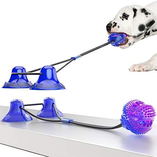 WingFly Giocattolo per Cani, Durevole Palla della Molar Corda del Rimorchiatore del Cane con Corda Elastica E Doppia Ventosa, Giochi da Masticare Palla Giocattolo Resistente del Morso di Cane (Viola)