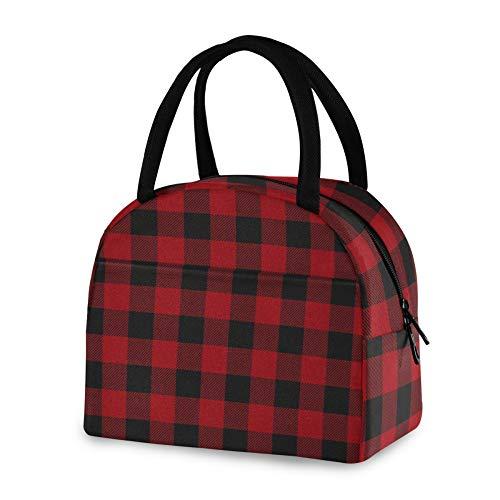 RELEESSS Isolierte Lunchtasche Buffalo Plaid Tote Kühltasche Wiederverwendbare Kühltasche für Damen Herren Mädchen Jungen