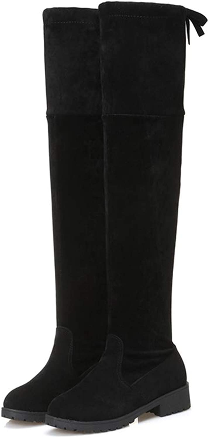 T-JULY Women's Boots Autumn and Winter New Flat Platform Over The Knee Boots Flock Square Heel Fashion Sexy shoes