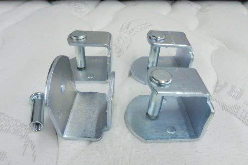 Pack 4 ABRAZADERAS metálicas para somier de TUBO 40x30mm, sistema antiruido de gran estabilidad y resistencia.