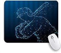 KAPANOU マウスパッド、抽象的な野球打者のシルエットの三角形の粒子線のデザイン おしゃれ 耐久性が良い 滑り止めゴム底 ゲーミングなど適用 マウス 用ノートブックコンピュータマウスマット