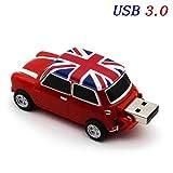 YANODA Symulacja Samochodu 64GB USB Mini Kreatywny Cooper Samochody Modelu USB 3.0 Flash Stick Stick Pen Drive 16GB 32G 64GB (Capacity : 16GB, Color : Mini (Red))
