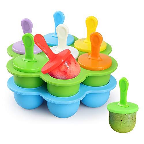 WD&CD 14 Stück Eisformen Eis am Stiel Silikon mit 18 Stück Kunststoffstäbchen, Mini Eisformen Silikon BPA Frei Förmchen zum Einfrieren von Obst oder Joghurt