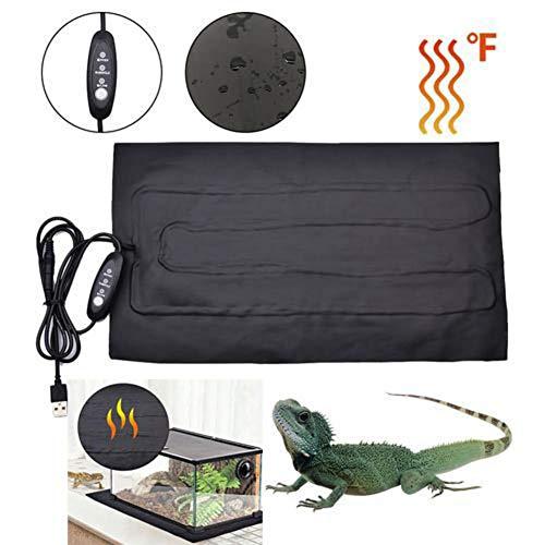 Reptilien-Heizmatten, 8,5 W, einstellbares Reptilien-Heizkissen, Zeitschaltuhr, Temperaturregelung, Haustier-Wärmefilmkissen, PU-Heizmatte für Schildkröten, Schlangen, Eidechsen, Geckos