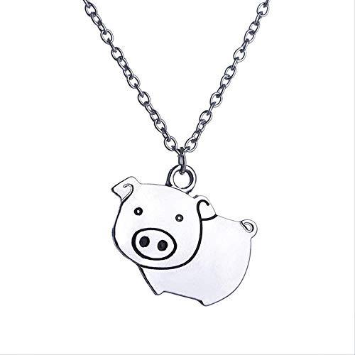 NC190 Cerdo Collares Lindo Cerdo Rosa Mini Regalo de Joyería para Mascotas para Protector de Animales Amante del Cerdo Seguidor del Zodiaco