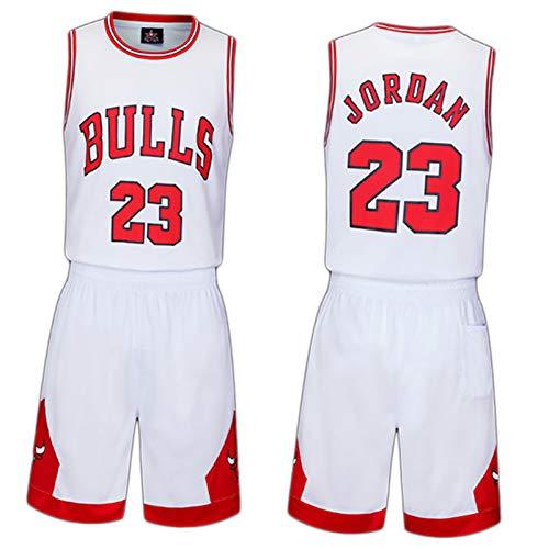 Conjunto De Jerseys para Niños-Chicago Bulls No. 23 Jersey Camiseta De Baloncesto Chaleco Top Shorts De Verano para Niños Y Niñas, White-XS