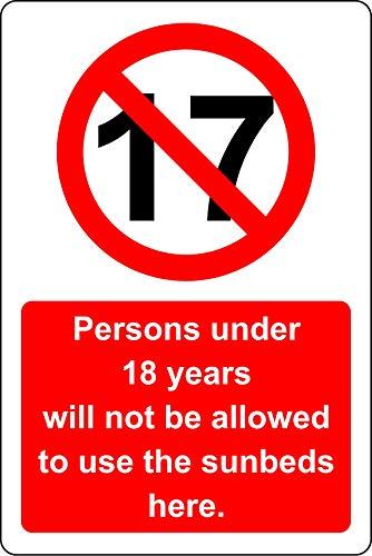 Personen jonger dan 18 jaar mogen de ligbedden hier niet gebruiken - 1.2mm Rigid plastic 400mm x 300mm