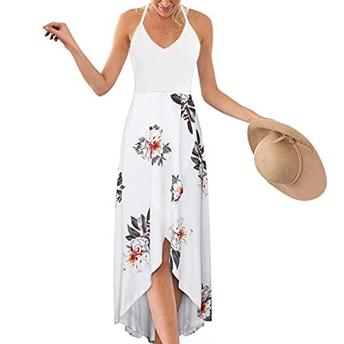 VEMOW Vestido de Playeros Verano Mujer 2021 Tallas Grandes sin Mangas, Largo Asimétrico Vestido de Fiesta Tirantes Cuello en V Boho Floral Camisola De Falda Ropa Casual para El Hogar(B Blanco,S)