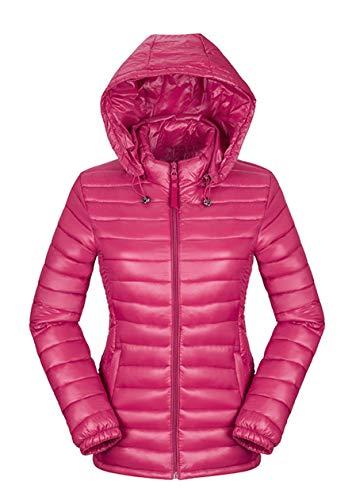 OMZIN Winter Jacke Damen Warm Kurz Steppjacke Übergangsjacke Rosa L