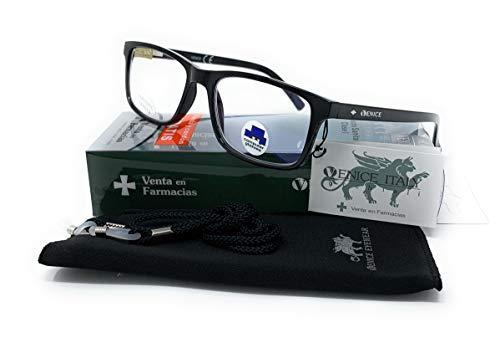 Gafas ver de cerca, lectura con Filtro Luz Azul, Ordenador Gaming Móvil, Protección Antifatiga - Venice Coti Dioptría (1-1,50-2 - 2,50-3 - 3,50) (Negro, Graduación +2,00)