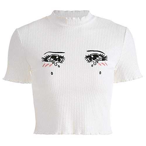 Women Crying Eyes Embroidery White T-Shirts Harajuku Kawaii Short Sleeve Crop Top (S, White)